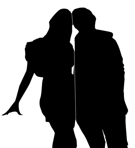 Silhouette of womun and man.
