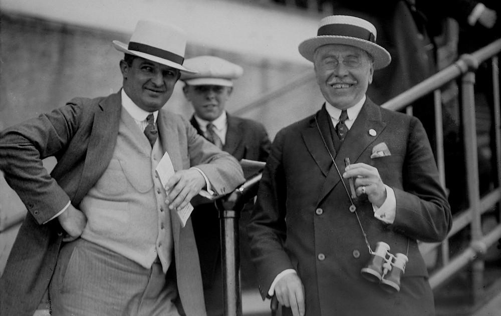 Louis Feustel, trainer of Man o' War. Samuel Riddle, owner of Man o' War and Triple Crown winner War Admiral.