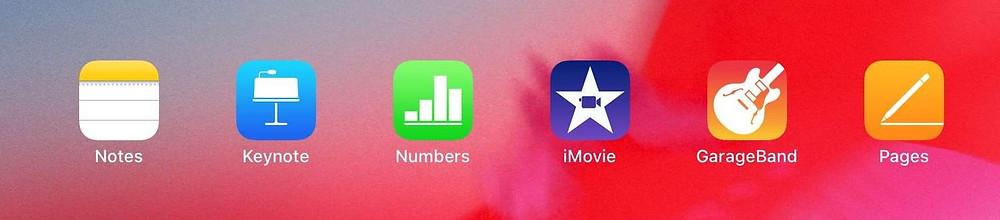 apple apps on an ipad: notes, keynote, numbers, imovie, garageband
