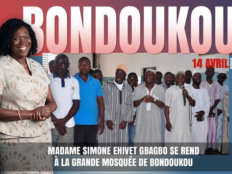 MADAME SIMONE EHIVET GBAGBO SE REND À LA GRANDE MOSQUÉE DE BONDOUKOU