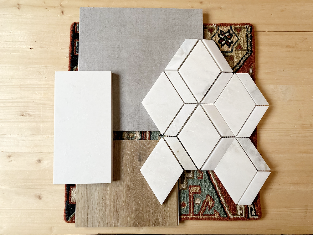 geometric white marble backsplash