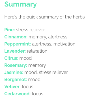 What we breathe in matters. Echotopia uses delicious smelling herbs.