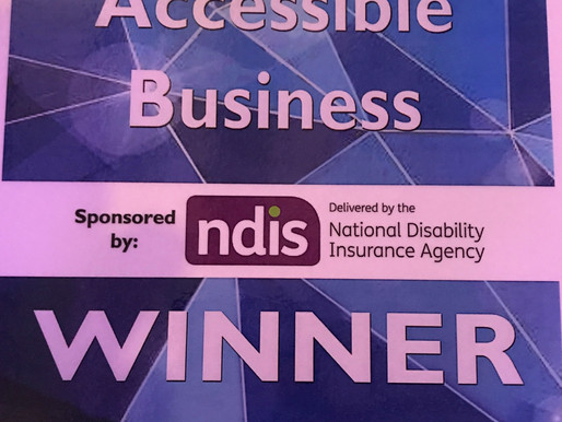 "Winners of the 2017 ""Best Accessible Business"" Award, Sponsored by the NDIS."