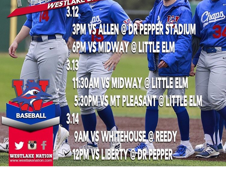 Chaps Baseball Dr. Pepper Tournament Thursday, Friday and Saturday in Frisco