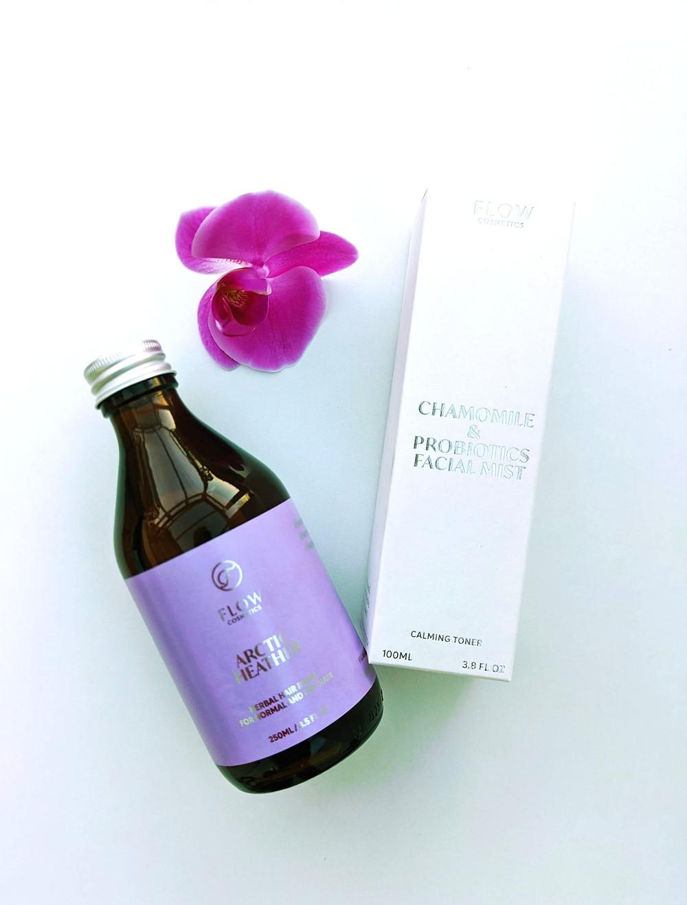 Koti Lifestyle   Flow Cosmetics hair rinse and chamomile facial mist, organic skincare