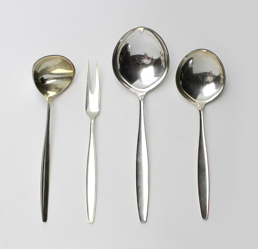 Georg Jensen Sterling Silver Cypress by Tias Eckhoff Four Piece Serving Set Sauce Ladle Meat Fork Serving Spoon