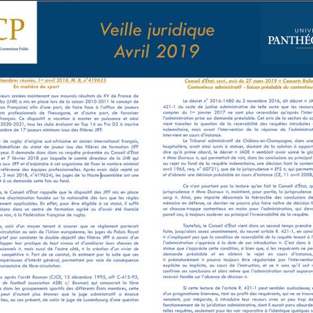 Veille juridique - avril 2019