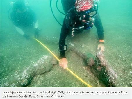 Descubren anclas del siglo XVI en Villa Rica.