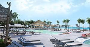 Bimini beach club in Bahamas, pools and loungers by the beach