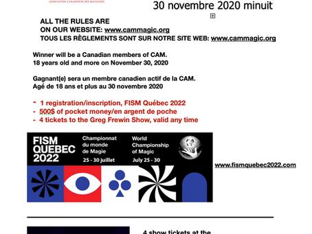 Contest for all Canadian CAM members! Concours pour tous les membres canadien de la CAM!