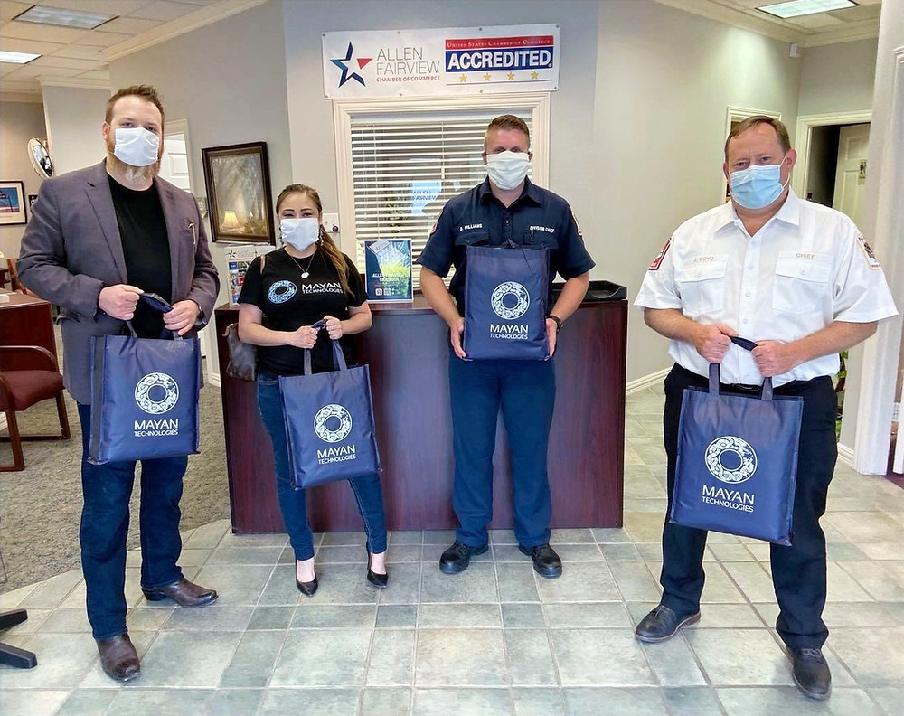 MayanTechs in coordination with Allen-Fairview Chamber of Commerce, met with AFD Division Chief Danny Williams and Allen Fire Chief Jonathan Boyd to personally deliver the complete order of masks.