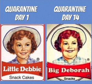 If the pandemic lasts longer than the next 30 days, Debbie might need to be featured on My 600 pound Life