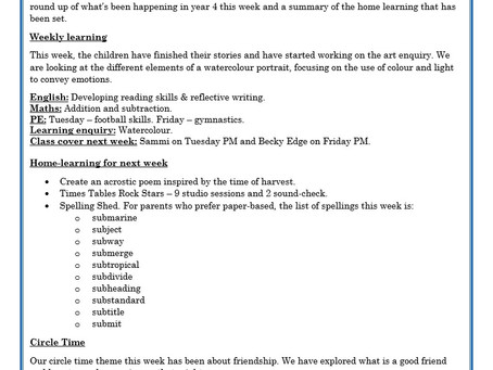 Year 4 Weekly Letter 09/10/20