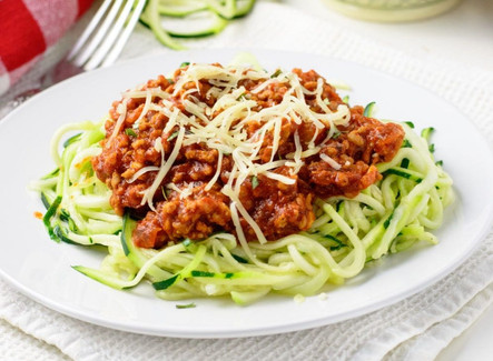 Bolognese over Zucchini Noodles