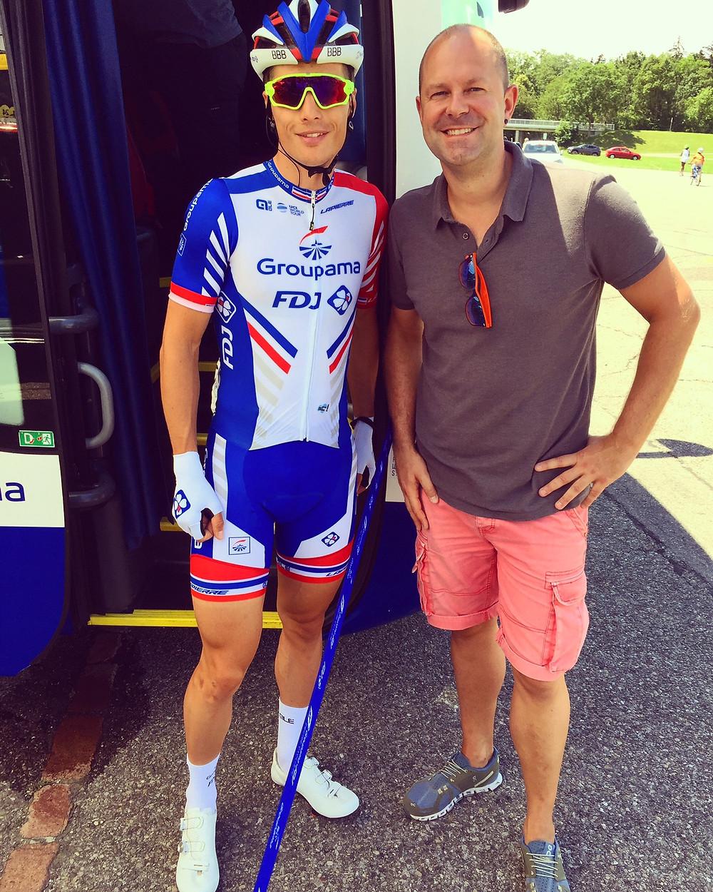 Arthur Vichot et Olivier Normand (groom design) lors de la 2ème étape du Tour de Suisse 2018 (Frauenfeld - Frauenfeld)