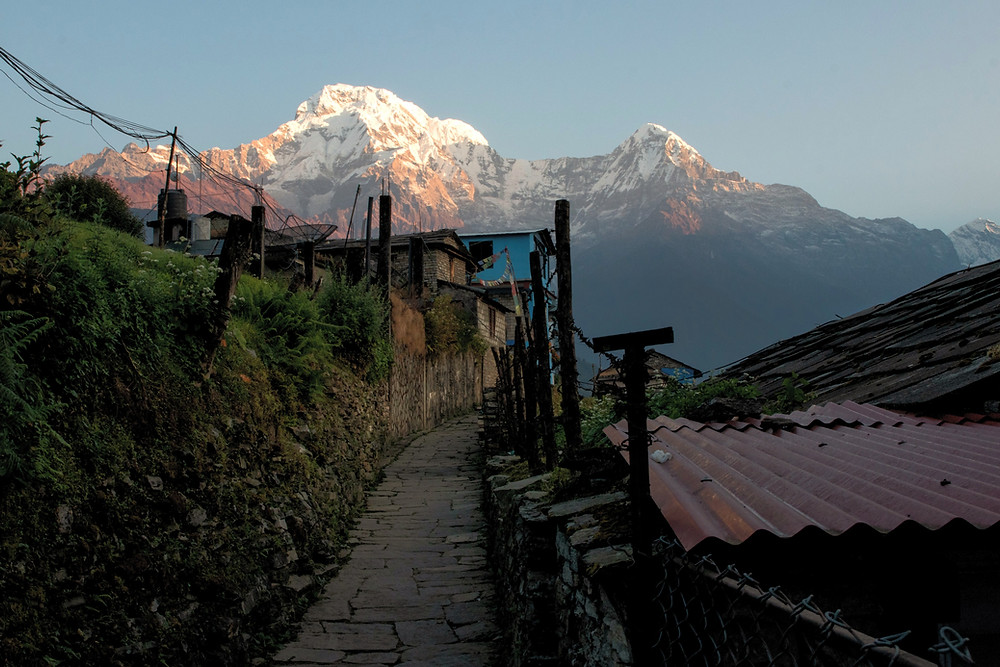 Village Ghandruk with view on the Annapurna south, Hiunchuli and Machapucharé in the morning (by Hungrigaufmeer)