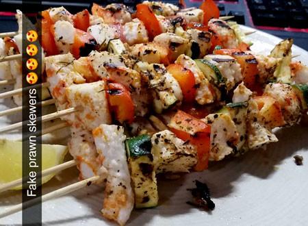 Chloe's fake prawn skewers look appetising.