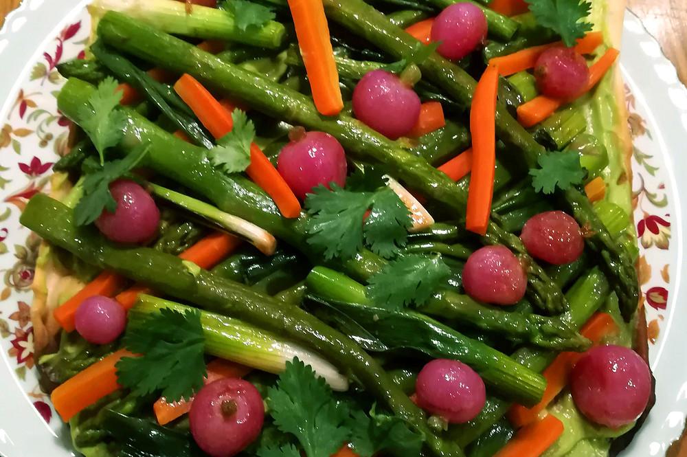 tarte sans gluten sans produits laitiers légumes de printemps