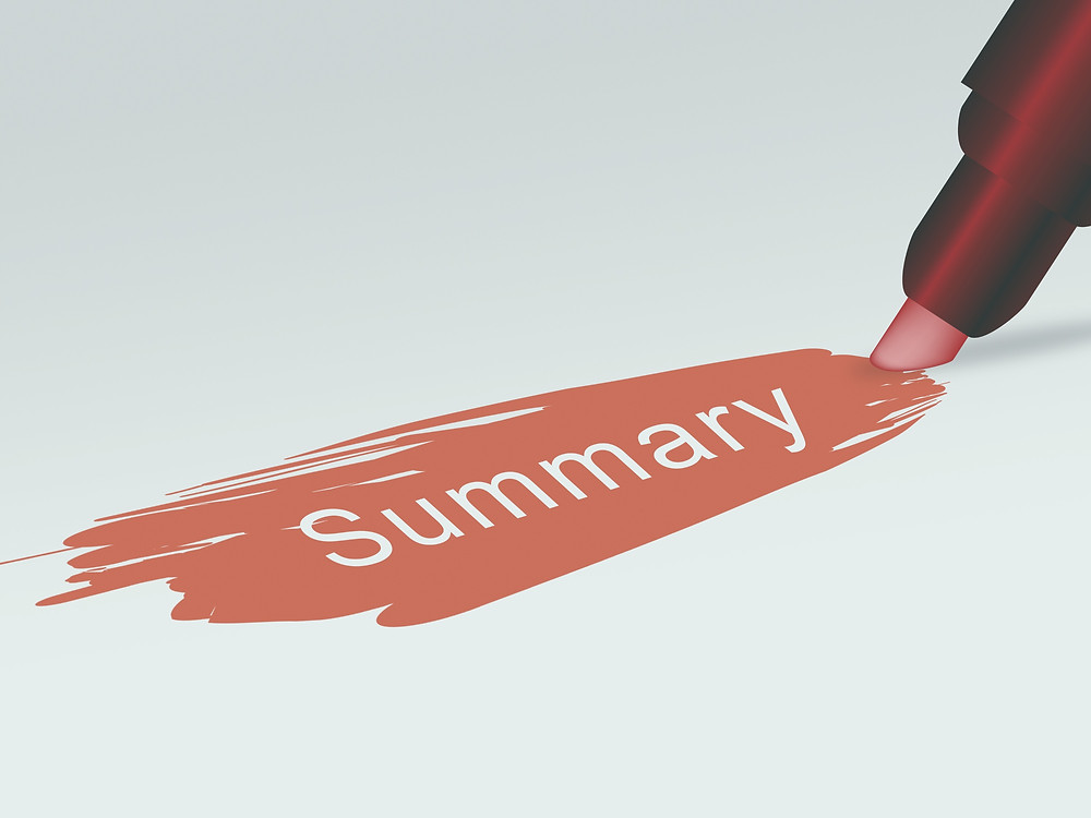 "illustration of a highlighting the word ""summary"""