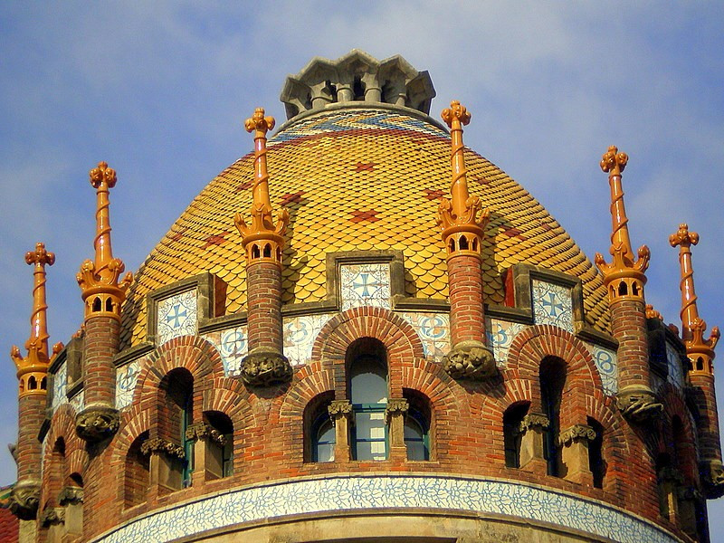 ornate dome of one of the pavilions at the Hospital de Sant Pau