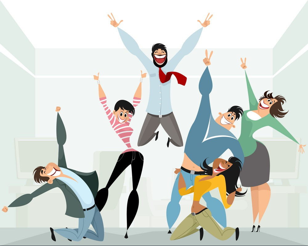 Cartoonish image of employees celebrating at work