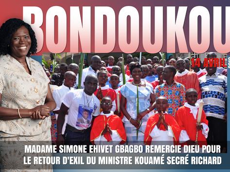 MADAME SIMONE EHIVET GBAGBO REMERCIE DIEU POUR LE RETOUR D'EXIL DU MINISTRE KOUAMÉ SECRÉ RICHARD