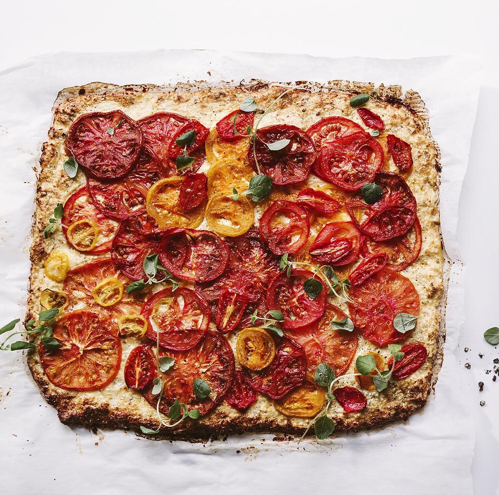 žiedinių kopūstų pyragas su pomidorais, Alfo receptai