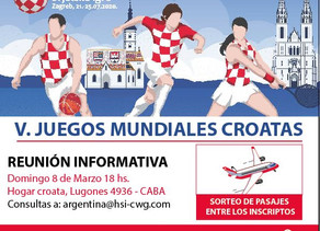 V Juegos Mundiales Croatas/Reunión y sorteo de pasajes/Inscribite ya!