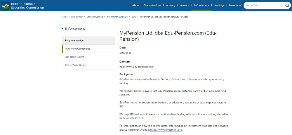Edu-Pension mise en garde