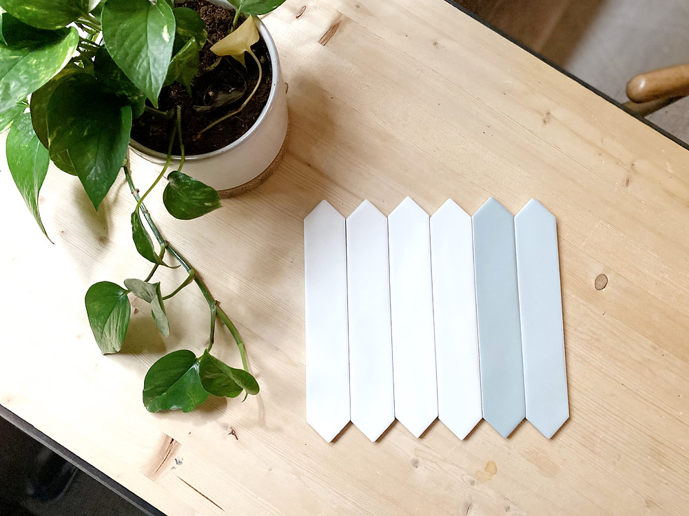 monochromatic white picket tile watercolor line