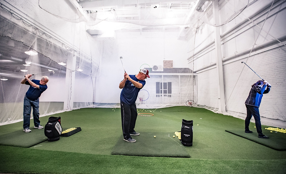Swing practice at Ironworks Golf Lab