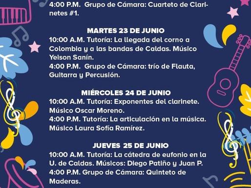PROGRAMACIÓN BANDA MUNICIPAL DE MANIZALES 22 AL 26 DE JUNIO