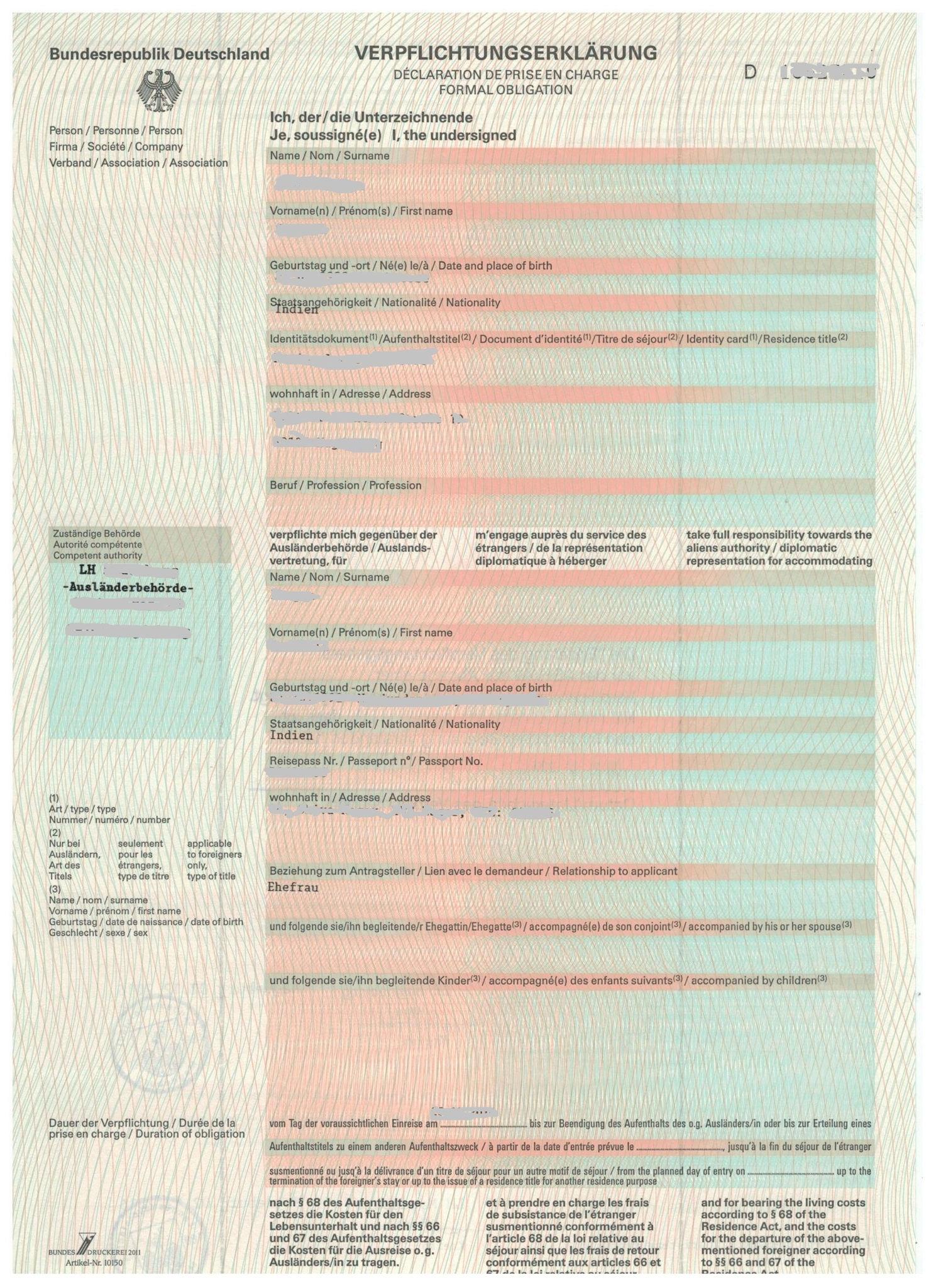 sample verpflichtungserklrung formal obligation letter - Verpflichtungserklarung Muster