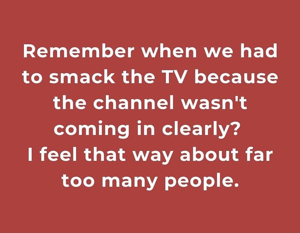 Remember when we had to smack the TV because the channel wasn't coming in clearly? I feel that way about far too many people. Meme