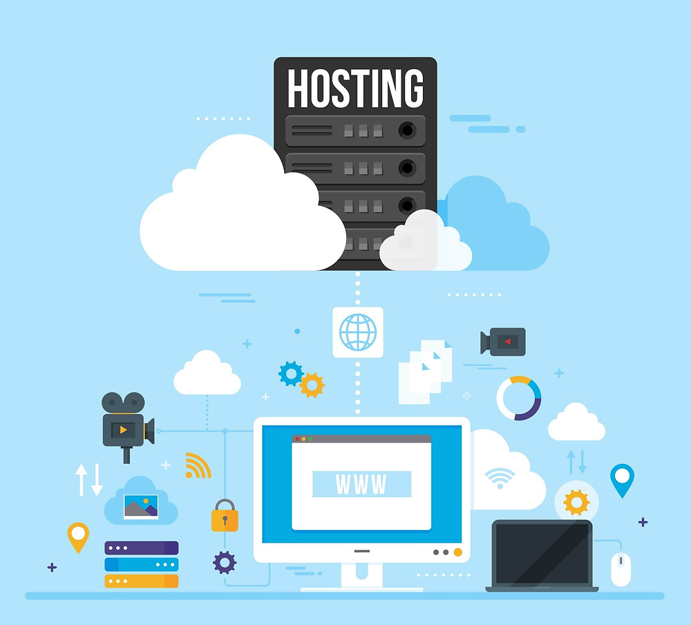 Illustration showing what is hosting: Web hosting a website building element