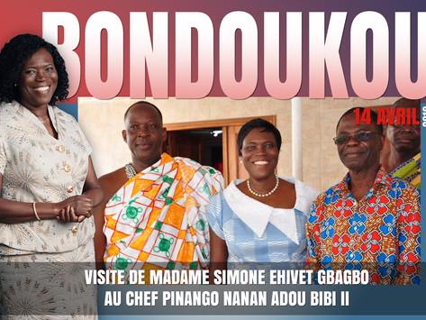 BONDOUKOU: VISITE DE MADAME SIMONE EHIVET GBAGBO AU CHEF PINANGO NANAN ADOU BIBI II