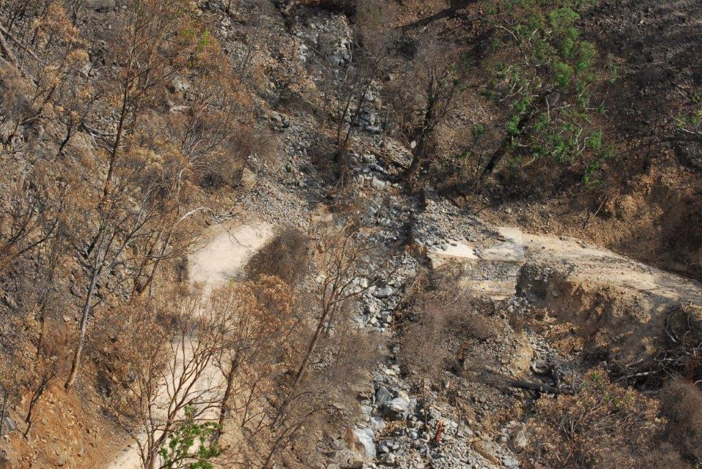Aerial view of landslide