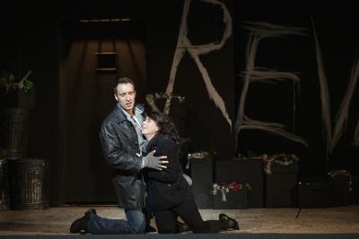 Yuriy Yurchuk as Marcello and Lauren Fagan as Mimì in Opera North's La Bohème c Richard H Smith