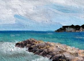 Peindre l'eau et le ciel dans un paysage