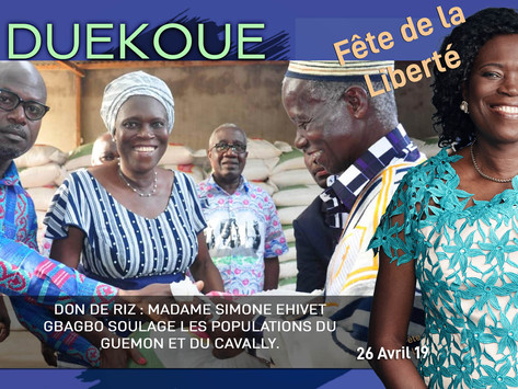 DON DE RIZ : MADAME SIMONE EHIVET GBAGBO SOULAGE LES POPULATIONS DU GUEMON ET DU CAVALLY.