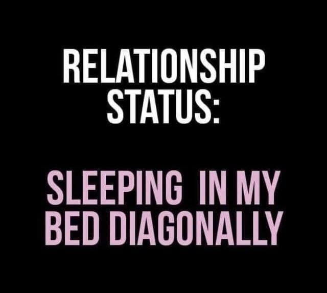 Relationship Status: Sleeping in my Bed Diagonally Meme