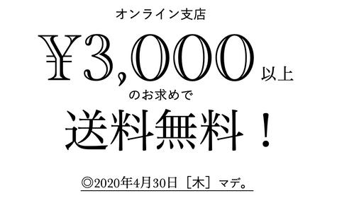 [オンライン支店]◎4月末マデ/3,000円以上のお求めで送料無料!