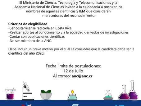 Mujeres dedicadas a la ciencia y tecnología pueden ser reconocidas como la Científica Destacada 2020