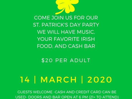 St. Patrick's Day Party March 14