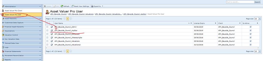 Navigate to User List View via Asset Valuer Pro User