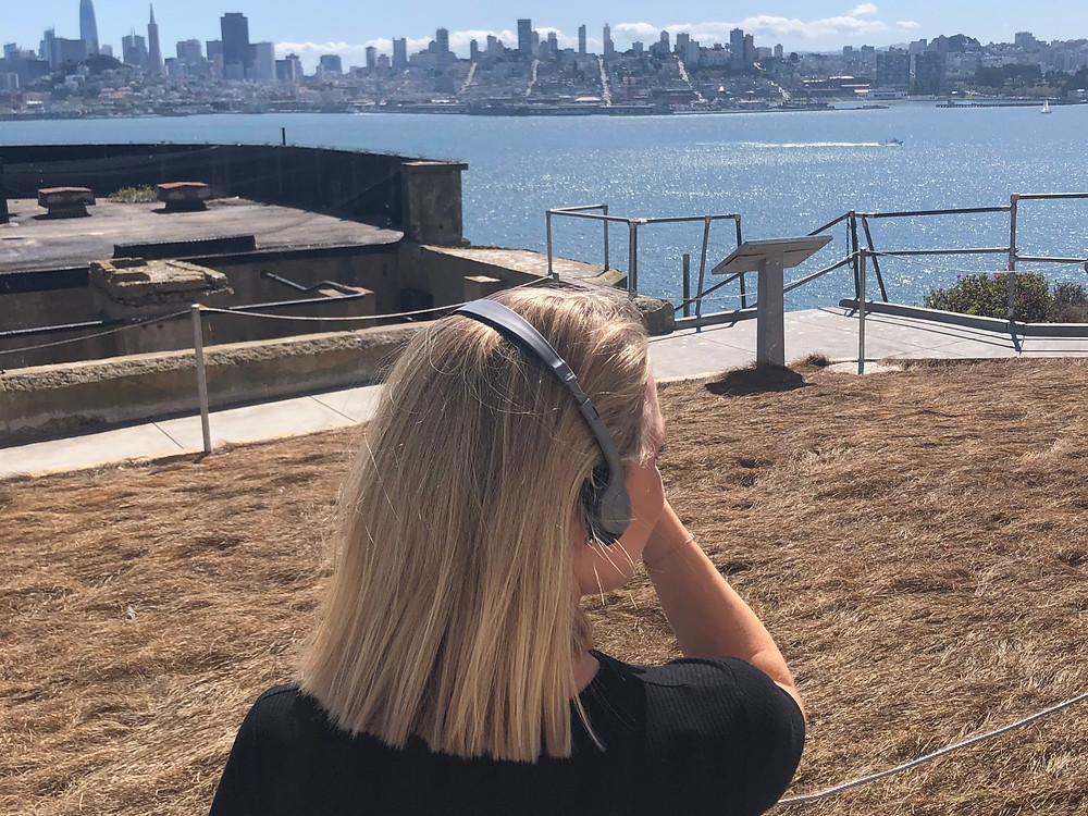 A Swedish National picking up some sun during a visit fo Alcatraz, the ultimate isolation facility.