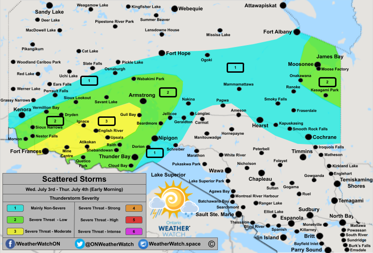 Thunderstorm Forecast, for Northern Ontario. Issued July 3rd, 2019.