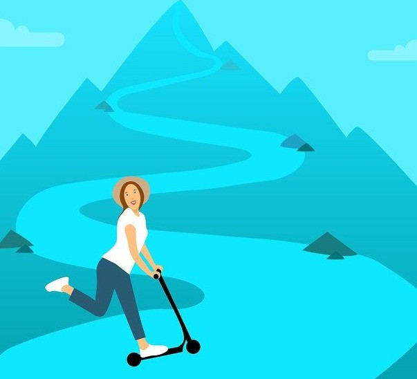 Image by mohamed Hassan from Pixabay: Girls riding a scooter on a path leading up to the top of a mountain..