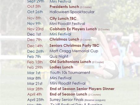 Social Calendar 2019 - 2020
