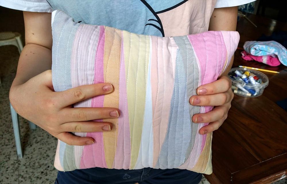 Wave landscape patchwork art pillow